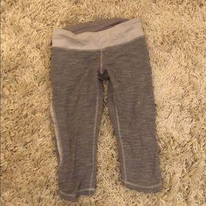 Gray/White Cropped Lululemon Leggings